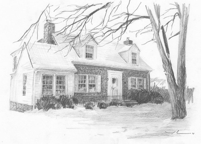 <a Href=http://miketheuer.com Target =_blank>www.miketheuer.com</a> Brick Cottage Pencil Portrait Greeting Card featuring the drawing Brick Cottage Pencil Portrait by Mike Theuer