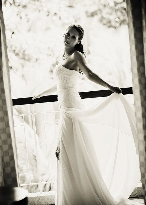 Marriage Greeting Card featuring the photograph Bride At The Balcony. Black And White by Jenny Rainbow