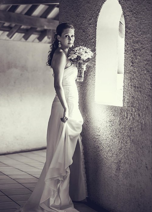 Marriage Greeting Card featuring the photograph Bride At The Window. Black And White by Jenny Rainbow