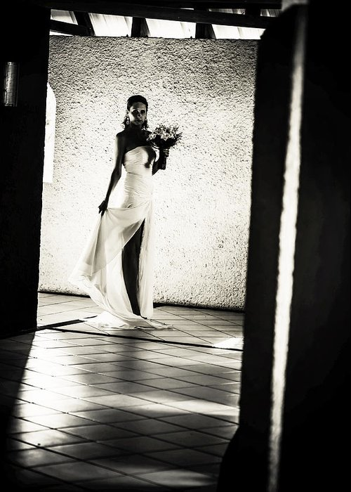 Marriage Greeting Card featuring the photograph Bride. Black And White by Jenny Rainbow