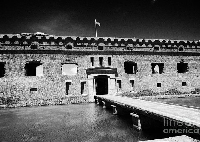 Fort Greeting Card featuring the photograph Bridge Across The Moat Sally Port Entrance To Fort Jefferson Dry Tortugas National Park Florida Keys by Joe Fox