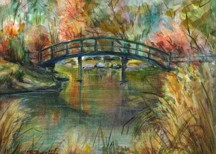 Bridge Greeting Card featuring the painting Bridge At The Botanical Gardens by B Rossitto