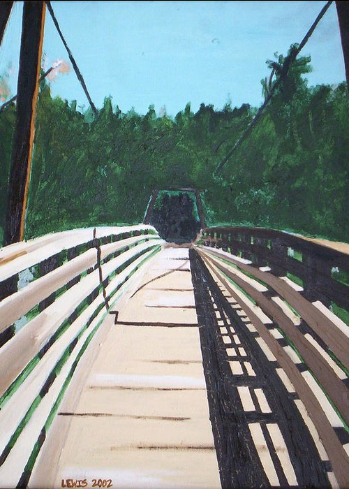 Oil Greeting Card featuring the painting Bridge by Christopher Lewis