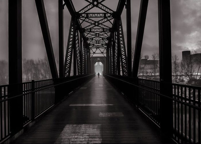 Fog Greeting Card featuring the photograph Bridge Crossing by Bob Orsillo