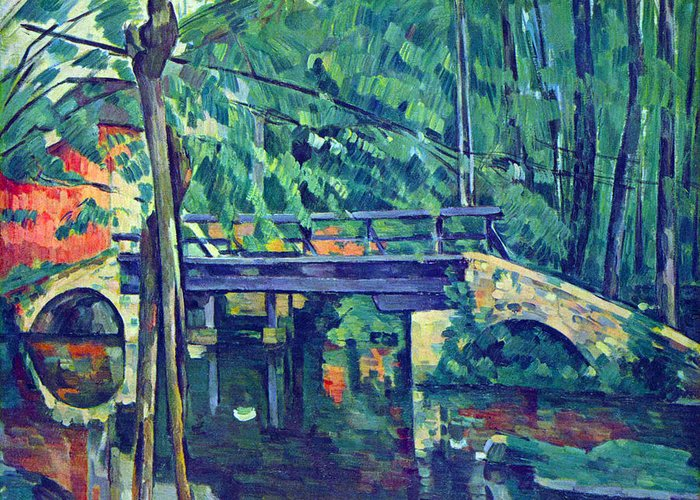 Greeting Card featuring the ceramic art Bridge In The Forest By Cezanne by John Peter