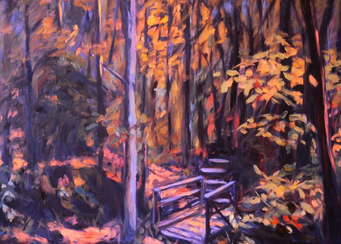 Woods Greeting Card featuring the painting Bridge In Woods Near Pandapas by Kendall Kessler