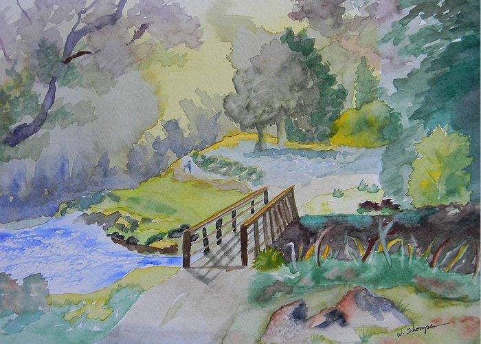 Bridge Greeting Card featuring the painting Bridge Near Enniskerry Ireland by Warren Thompson