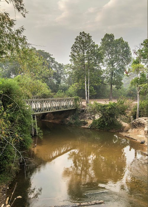 Tranquility Greeting Card featuring the photograph Bridge Over Siem Reap River On The Road by Cultura Exclusive/gary Latham