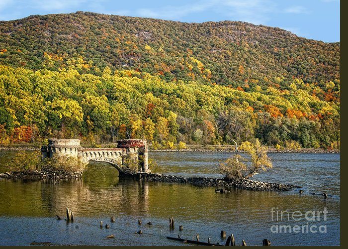 Hudson River Greeting Card featuring the photograph Bridge To Nowhere by Claudia Kuhn