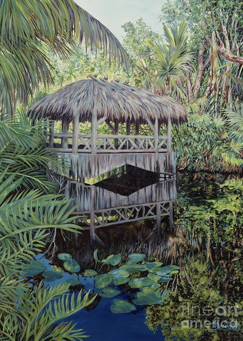 The Bonnet House Greeting Card featuring the painting Bridge To Paradise by Danielle Perry