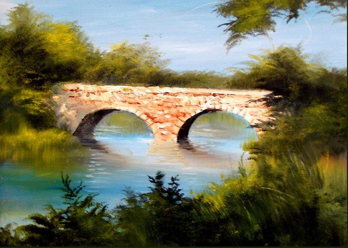 Landscape Greeting Card featuring the painting Bridge Under El Dorado Lake by Robert Carver