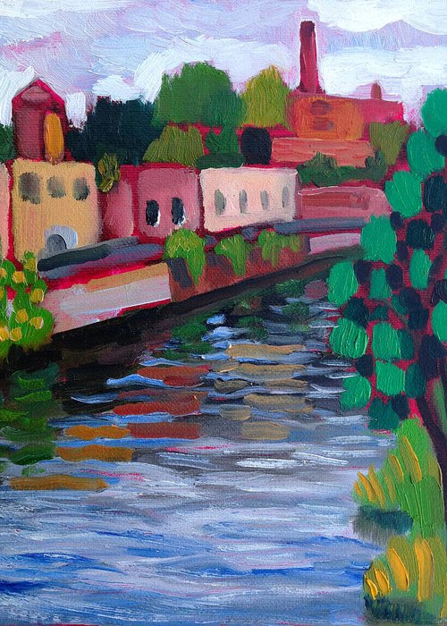 Oil. Landscape. Plein Air Greeting Card featuring the painting Bridge View by Paul Cumes