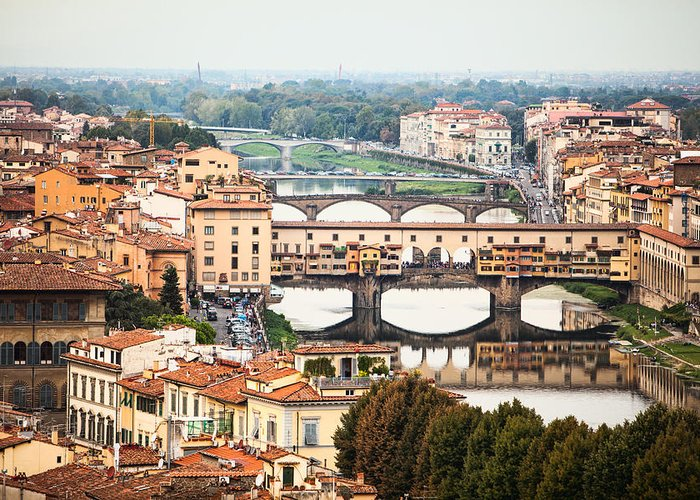 Florence Greeting Card featuring the photograph Bridges Of Florence by Susan Schmitz