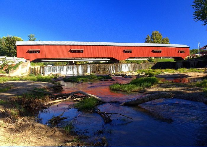 Landscape Greeting Card featuring the photograph Bridgeton Covered Bridge 1 by Marty Koch