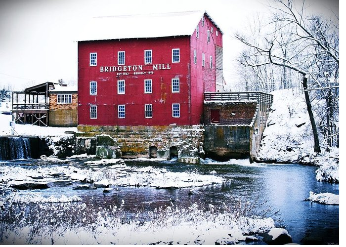 Landscape Greeting Card featuring the photograph Bridgeton Mill In Winter by Virginia Folkman