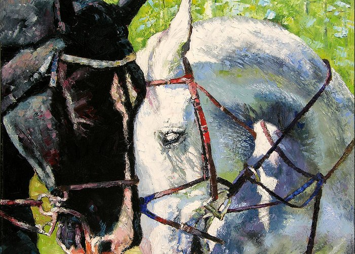 Horses Greeting Card featuring the painting Bridled Love by John Lautermilch