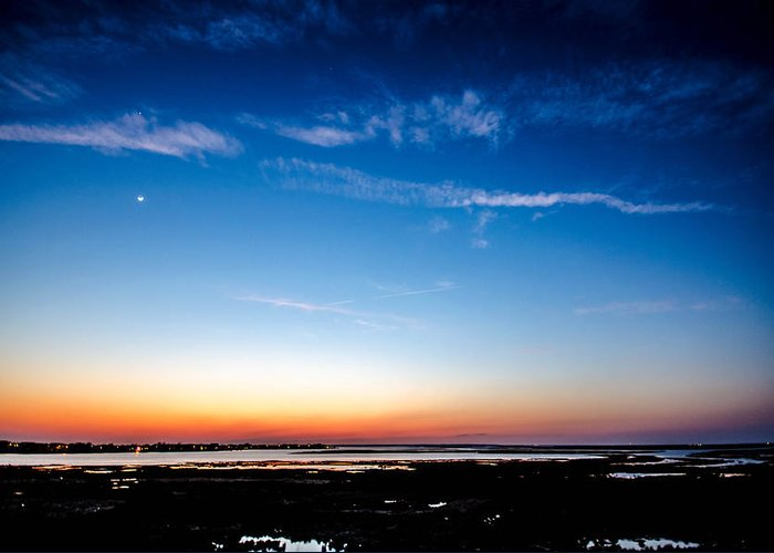Sunset Greeting Card featuring the photograph Brigantine Moonrise by Kevin Jarrett