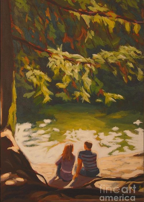 Nature Greeting Card featuring the painting Bright Angel Moment by Janet McDonald