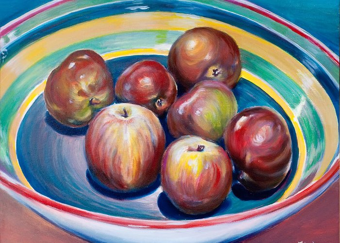 Apples Greeting Card featuring the painting Red Apples In Striped Bowl by Jennifer Lycke