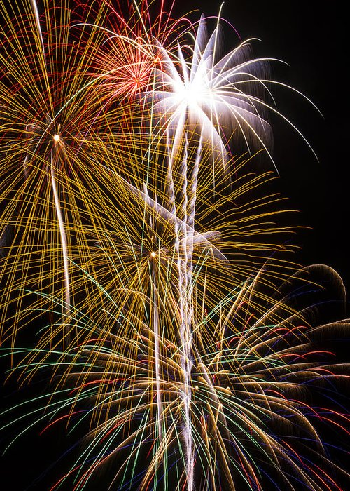 Awesome Fireworks Lights Up The Darkness Greeting Card featuring the photograph Bright Bursts Of Fireworks by Garry Gay