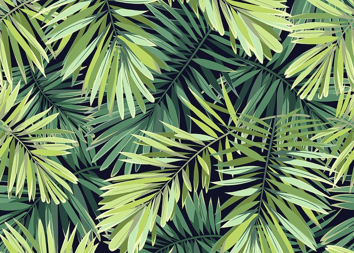Tropical Rainforest Greeting Card featuring the digital art Bright Green Background With Tropical by Msmoloko