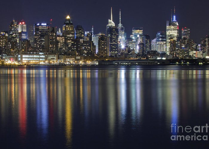 New York City Skyline Greeting Card featuring the photograph Bright Lights Big City by Marco Crupi