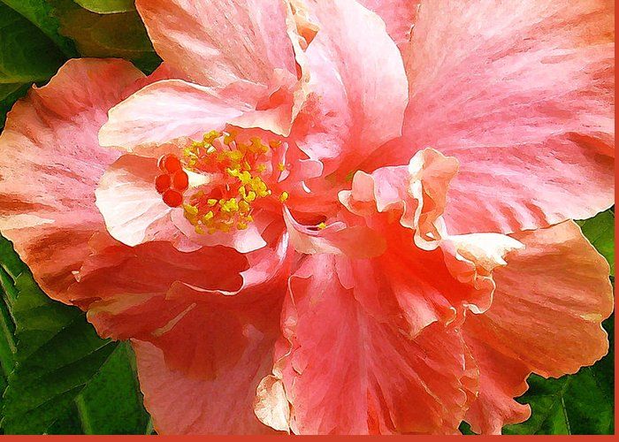 Hibiscus Greeting Card featuring the digital art Bright Pink Hibiscus by James Temple