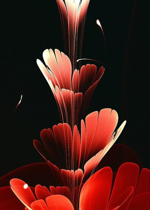 Plant Greeting Card featuring the digital art Bright Red by Anastasiya Malakhova