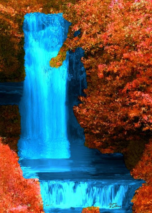 Fall Greeting Card featuring the painting Brilliant Waterfall In Autumn by Bruce Nutting
