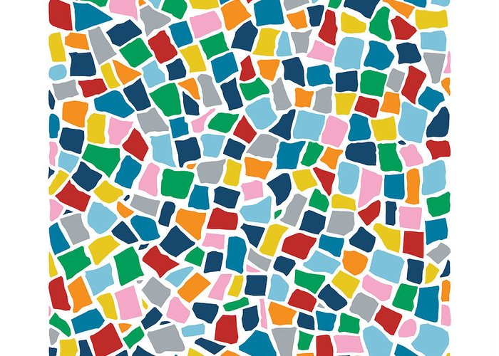 Multi Greeting Card featuring the digital art British Mosaic Multi by Emeline Tate