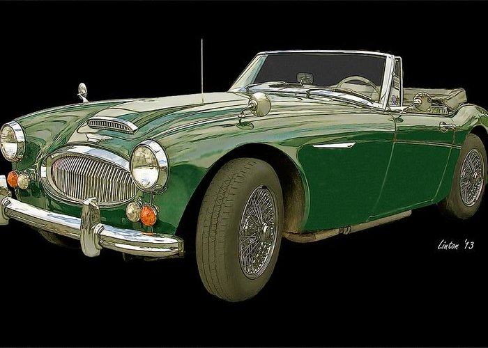 Austin Healey 3000 Greeting Card featuring the digital art British Racing Green by Larry Linton