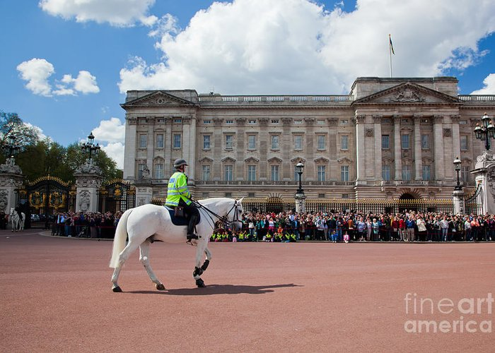 London Greeting Card featuring the photograph British Royal Guards Riding On Horse And Perform The Changing Of The Guard In Buckingham Palace by Michal Bednarek