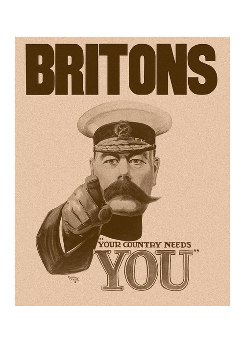 Wwi Greeting Card featuring the painting Britons Your Country Needs You by War Is Hell Store