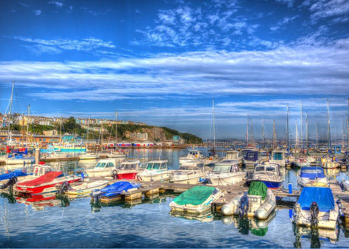 Uk Greeting Card featuring the photograph Brixham Marina Devon England Uk On Calm Summer Day With Blue Sky by Michael Charles