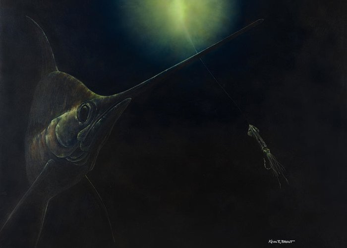 Swordfish Greeting Card featuring the painting Broadbill Nights by Kevin Brant