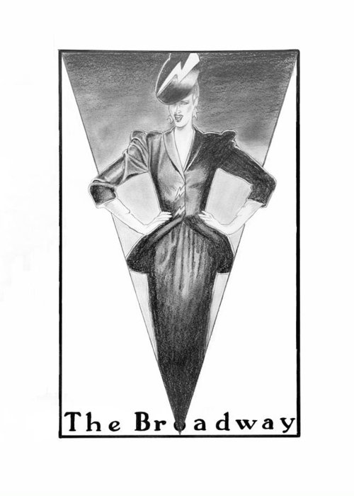 Fashion Illustration Greeting Card featuring the drawing Broadway Dame by Sarah Parks