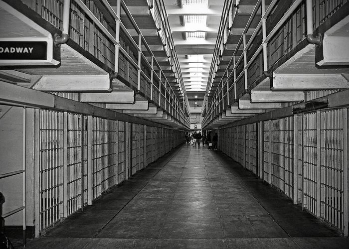 Cell Greeting Card featuring the photograph Broadway Walkway In Alcatraz Prison by RicardMN Photography
