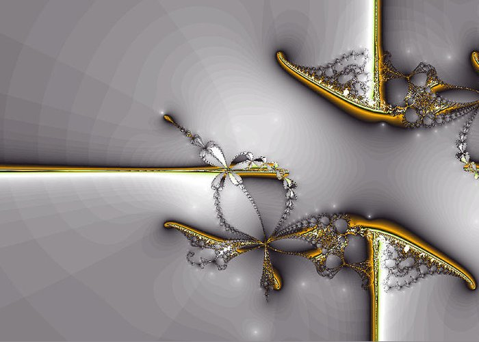 Greeting Card featuring the digital art Broken Jewelry-fractal Art by Lourry Legarde