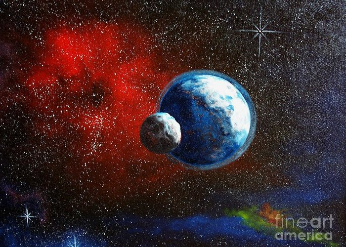 Astro Greeting Card featuring the painting Broken Moon by Murphy Elliott