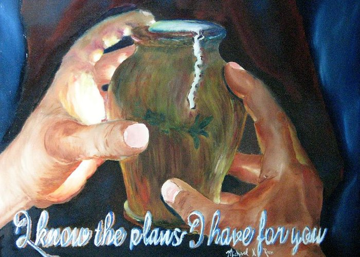 Pottery Greeting Card featuring the painting Broken Vessels by Michael Race