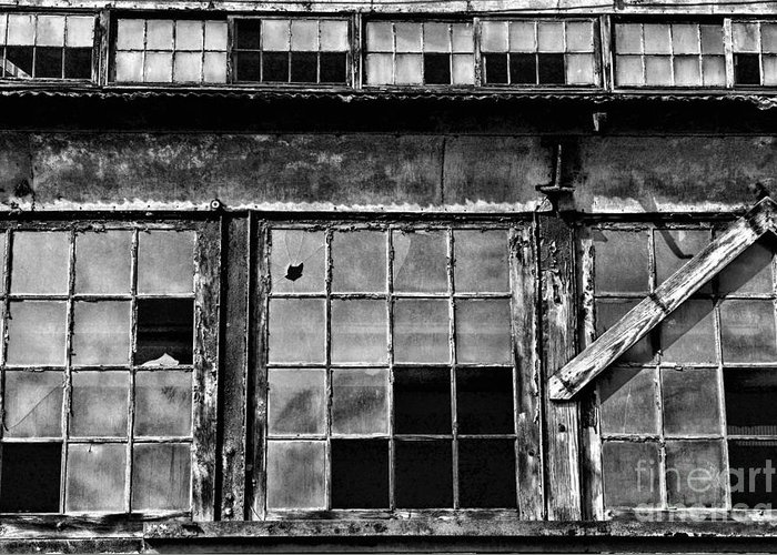 Paul Ward Greeting Card featuring the photograph Broken Windows In Black And White by Paul Ward