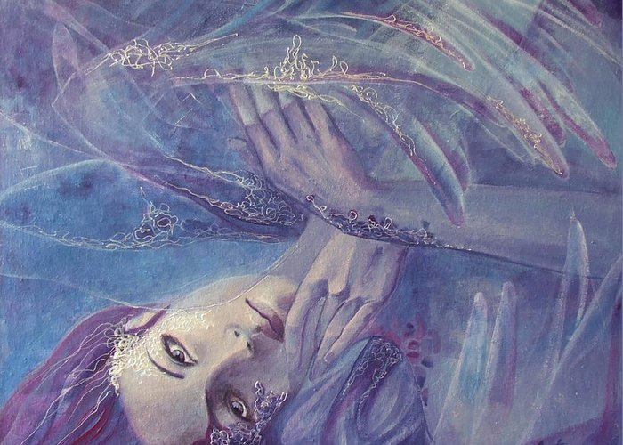 Lace Greeting Card featuring the painting Broken Wings by Dorina Costras