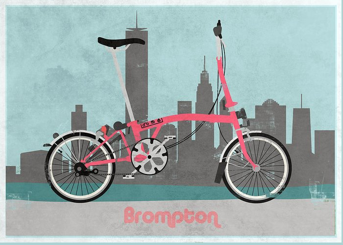 Bike Greeting Card featuring the digital art Brompton City Bike by Andy Scullion