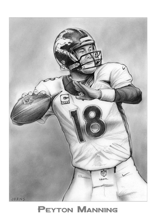 Nfl Drawings Greeting Cards