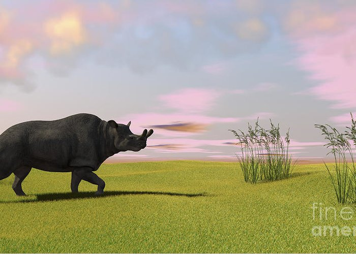Three Dimensional Greeting Card featuring the digital art Brontotherium Grazing In Prehistoric by Kostyantyn Ivanyshen