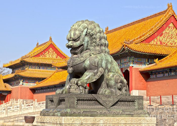 Architecture Greeting Card featuring the photograph Bronze Lioness Forbidden City Beijing by Colin and Linda McKie