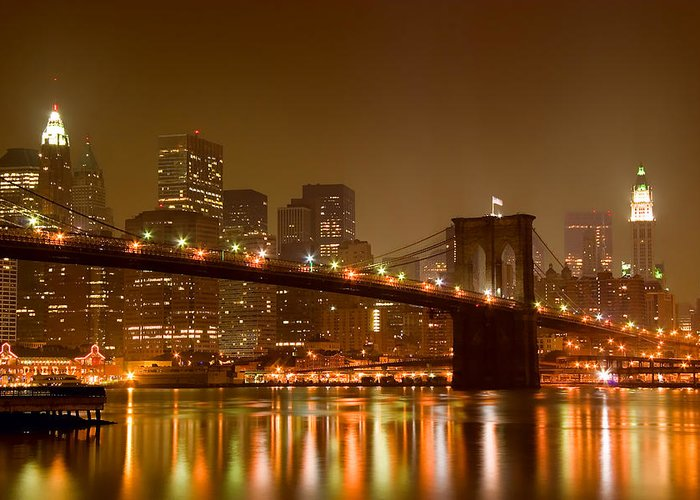 Architecture Greeting Card featuring the photograph Brooklyn Bridge And Downtown Manhattan by Val Black Russian Tourchin