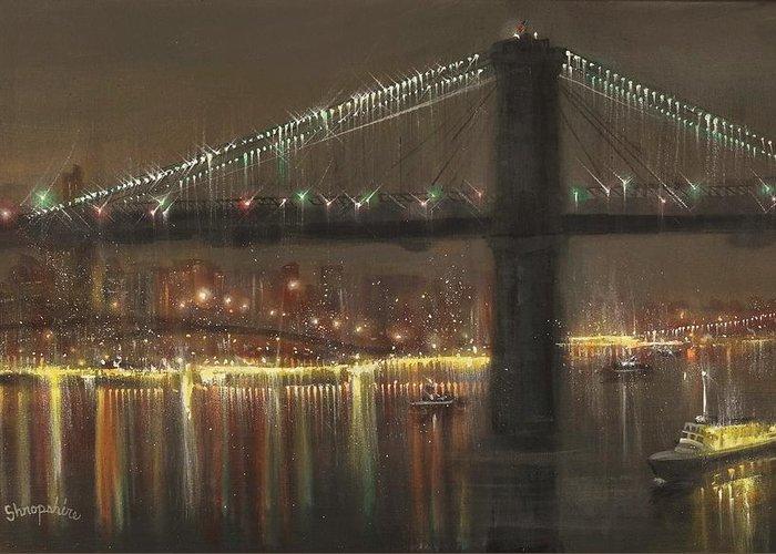 Brooklyn Greeting Card featuring the painting Brooklyn Bridge Cruciform by Tom Shropshire