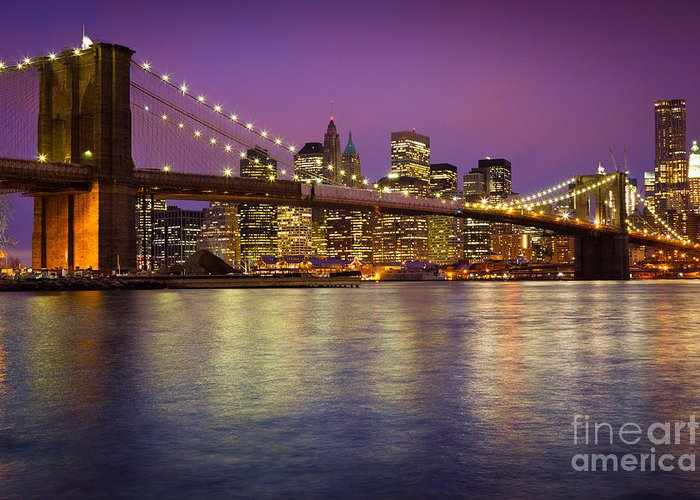 America Greeting Card featuring the photograph Brooklyn Bridge by Inge Johnsson