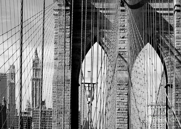 New York City Greeting Card featuring the photograph Brooklyn Bridge New York City Usa by Sabine Jacobs